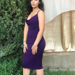 Purple body con mid-knee dress